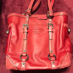 Fire engine red Coach Tote